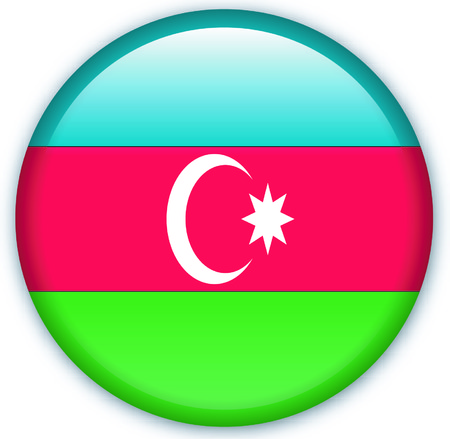eastern europe: Button with flag from Azerbaijan - Vector Format Illustration