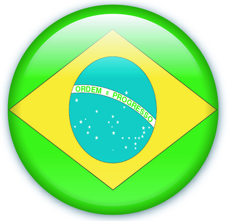 eastern europe: Button with Flag from Brazil - Vector Format