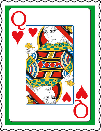 Stamp with Queen of hearts Illustration