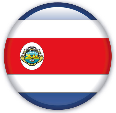 eastern europe: Button with Flag from Costa Rica - Vector Format Illustration