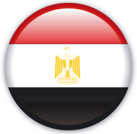 Button with Flag from Egypt - Vector Format Illustration