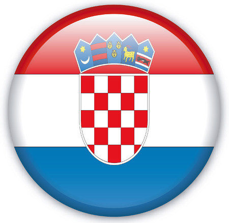 croatia: Button with Flag from Croatia - Vector Format