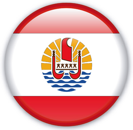 eastern europe: Button with Flag from French Polynesia - Vector Format Illustration