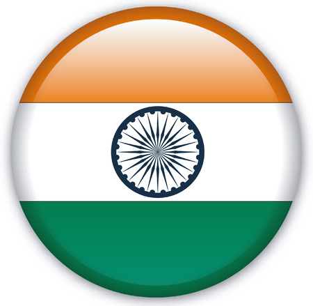 Button with Flag from India - Vector Format Vector