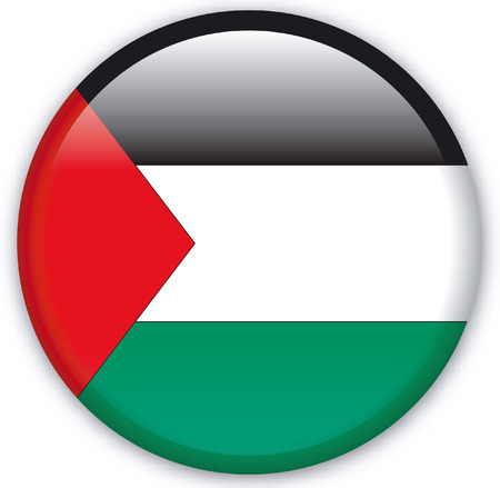 eastern europe: Button with Flag from Palestine - Vector Format