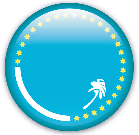 eastern europe: Button with Flag from South Pacific Commission - Vector Format