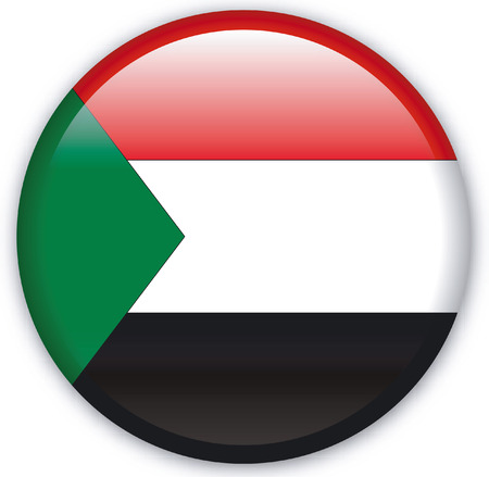 eastern europe: Button with Flag from Sudan - Vector Format