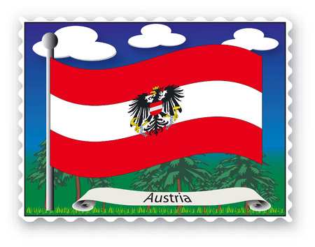Stamp with flag from Austria -Vector Vector