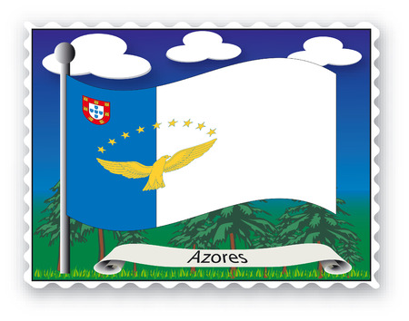 azores: Stamp with flag from Azores -Vector