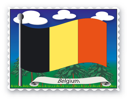 Stamp with flag from Belgium -Vector Stock Vector - 1777488