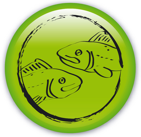 Button with Zodiac-Fishes Vector