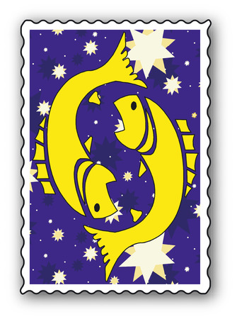 Stamp with Zodiac-Fishes Vector