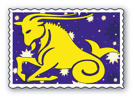 Stamp with Zodiac-Horned goat  Vector