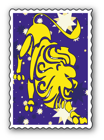 babylonian: Stamp with Zodiac-Lion Illustration