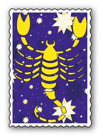 Stamp with Zodiac-Scorpion Vector
