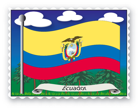Stamp with flag from Ecuador-Vector