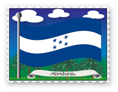 Stamp with flag from Honduras-Vector Vector