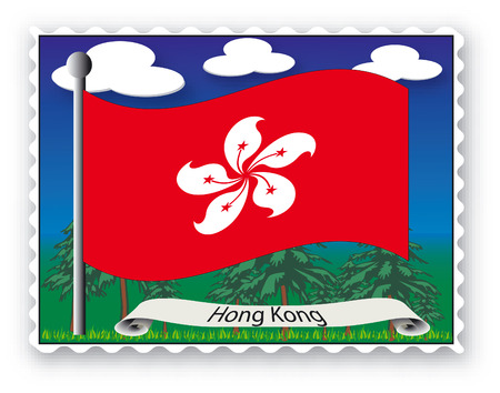Stamp with flag from Hong Kong-Vector Vector