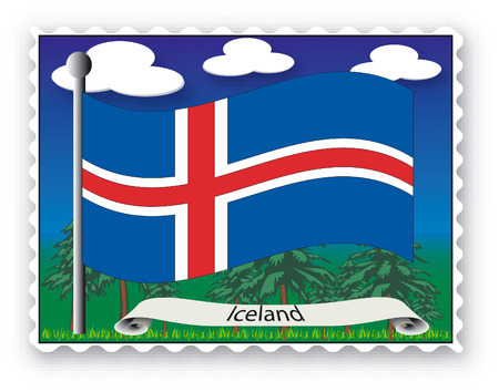 Stamp with flag from Iceland-Vector Vector