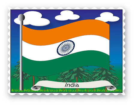 Stamp with flag from India-Vector Vector