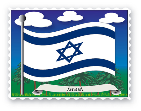 Stamp with flag from Israel-Vector Vector
