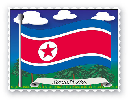 Stamp with flag from Korea North-Vector Stock Vector - 1976161