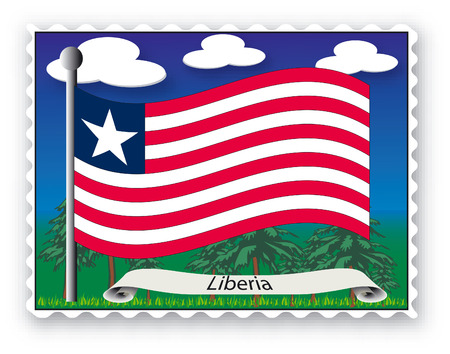 Stamp with flag from Liberia-Vector Vector