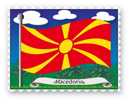Stamp with flag from Macedonia-Vector Vector