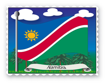 Stamp with flag from Namibia-Vector Vector