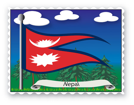 Stamp with flag from Nepal-Vector Vector