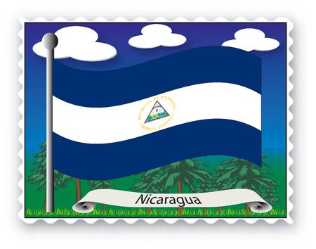 Stamp with flag from Nicaragua-Vector Vector