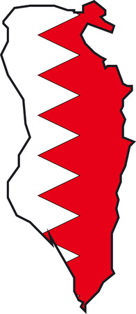 Illustration Vector of a Map and Flag from Bahrain Vector