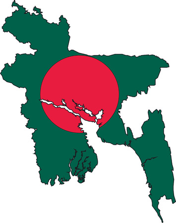 Illustration Vector of a Map and Flag from Bangladesh Vector