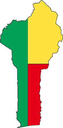 benin: Illustration Vector of a Map and Flag from Benin