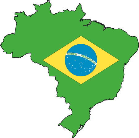 Illustration Vector of a Map and Flag from Brazil Vector