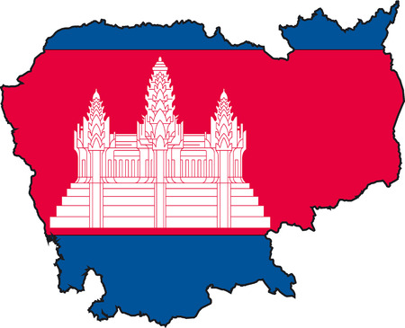 flutter: Illustration Vector of a Map and Flag from Cambodia