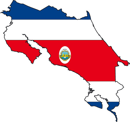 Illustration Vector of a Map and Flag from Costa Rica