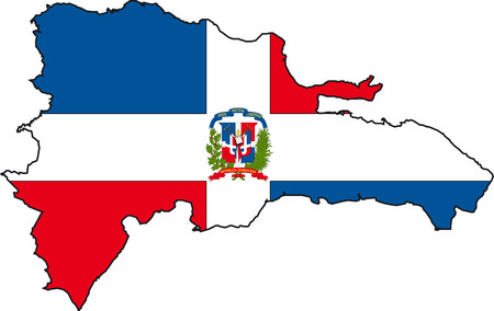 Illustration Vector of a Map and Flag from Dominican Republic