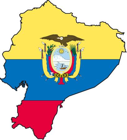 ecuador: Vector afbeelding van een map en de vlag van Ecuador