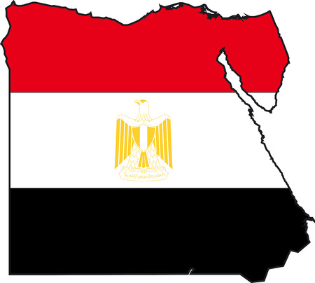 Illustration Vector of a Map and Flag from Egypt Illustration