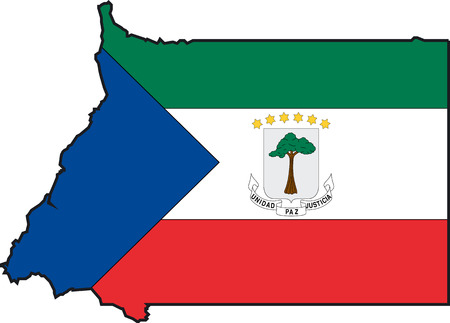 Illustration Vector of a Map and Flag from Equatorial Guinea Vector