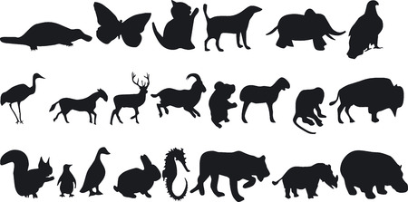 siluettes: Illustration of Animal Silouettes - Vector Format