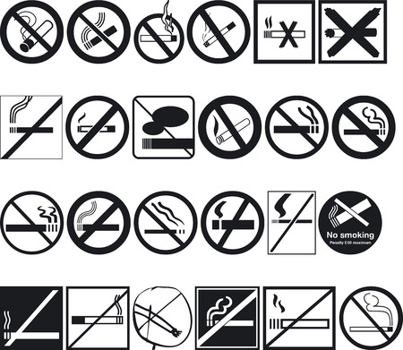silouettes: Illustration of No Smoking Signs - Vector Format Illustration