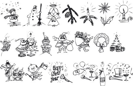 silouettes: Illustration of Xmas Silhouettes - Vector Format Illustration