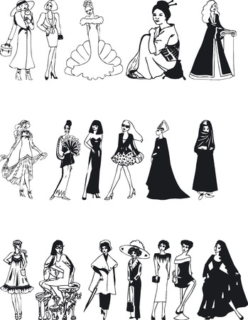 Illustration of Fashion Silouettes - Vector Vector
