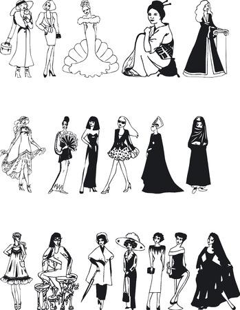 siluettes: Illustration of Fashion Silouettes - Vector
