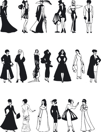 evening wear: Illustration of Fashion Silouettes - Vector