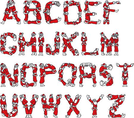 siluettes: Illustration of Santa Claus Alphabet - Vector