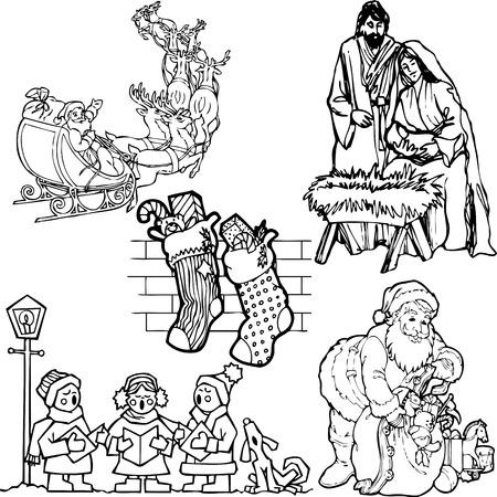 siluettes: Illustration of Xmas Silouettes - Vector