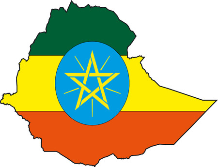 Illustration Vector of a Map and Flag from Ethiopia Vector